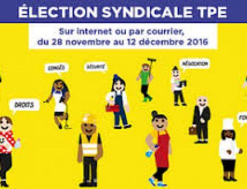 Du 28 novembre au 12 décembre 2016 : Election syndicale TPE